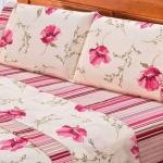 Jogo de Lençol para Cama Solteiro 3 Peças Requinte Floral Rosa 180 Fios