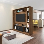 Estante Home 60901 Divisor de Ambientes Serenata Avelã e Preto para TV Até 50 Polegadas Sala de Estar Recepção – AM Decor