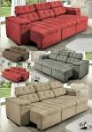 Sofa Itália 2,25 Mts Retrátil e Reclinavel Tecido Suede – Cama InBox