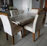 Conjunto Sala de Jantar Mesa 4 Cadeiras Luísa Espresso Móveis Veludo Creme/Off White/Imbuia – Espresso
