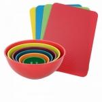 Conjunto de tigelas 6 peças + tábuas de corte médias 4 peças coloridos – Basic+