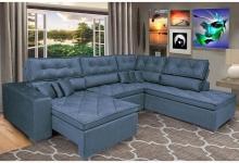 Sofa de Canto Retrátil e Reclinável com Molas Cama Inbox Platinum 3,34×2,36 Tecido Suede Café