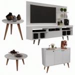 Conjunto Sala Com Rack E Painel Linea / Aparador Buffet Wood Prime / Mesa De Centro E Lateral Cissa Branco – Rpm Móveis