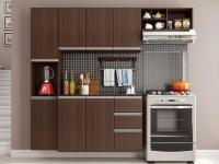 Cozinha Completa Poliman Móveis Laura – com Balcão 8 Portas 2 Gavetas