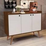 Aparador Buffet Retrô 3 Portas Wood – Freijó / Off White – RPM Móveis