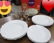 Aparelho de Jantar com Taça 16 Peças Duralex – Redondo Branco Pétala