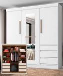 Guarda-roupa Casal com Espelho 3 Portas 6 Gavetas – E77020-50