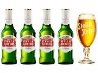 Kit Cerveja Stella Artois Cálice Vintage Premium – 4 Unidades de 275ml com 1 Cálice