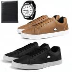 Kit 2 Pares De Sapatênis Casual Masculino Com Carteira + Relógio Quartz – Sw Shoes