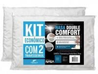 Kit Travesseiro Nasa Fibrasca de Cabeça – Viscoelástico Double Comfort 2 Peças
