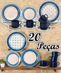 Aparelho de Jantar 20 Peças Biona Cerâmica – Redondo Branco e Azul Donna