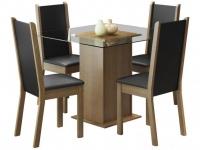 Mesa de Jantar com 4 Cadeiras Quadrada – Tampo de Vidro Madesa Aline