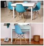 Conjunto com 2 Cadeiras Eames Eiffel Base Madeira Azul