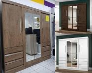 Guarda-roupa Casal com Espelho 4 Portas 6 Gavetas – Araplac Atraente Sofia