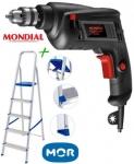 """Furadeira de Impacto Mondial 550W 1 Velocidade 110v – 3/8"""" FI-09 + Escada 5 Degraus de Alumínio Mor"""