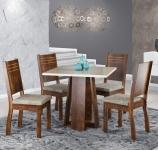 Conjunto Sala de Jantar Mesa Quadrada Tampo de Vidro Anitta 4 Cadeiras Spazzio Sonetto Móveis
