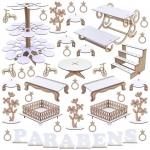Kit Festa Provençal – MDF Branco – Linha Premium – 1144-LP22 – Maxdecor decorações MDF Branco e Crú