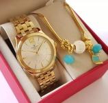 Relógio Feminino Champion Analógico Elegance – Dourado com Pulseira