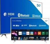 Smart TV LED 50″ Philips 50PUG6654/78 Ultra HD 4k, Design sem Bordas HDR10+ Dolby Vision Dolby Atmos Bluetooth 3 HDMI 2 USB 60 HZ – Prata