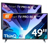 Smart TV LED 49″ LG ThinQ AI Ultra HD 4K 49UM731C 3 HDMI 2 USB Wi-fi com Conversor Digital