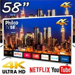 Smart TV LED 58″ Philco PTV58F80SNS Ultra HD 4K Conversor Digital Integrado 4 HDMI 2 USB Wi-Fi com Netflix – Space Gray
