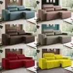 Sofá Retrátil e Reclinável 4 Lugares – Revestimento Suede Elite Style Linoforte