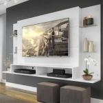 Painel Nairóbi Plus para TV Até 60″ Branco Acetinado Texturizado – Multimóveis
